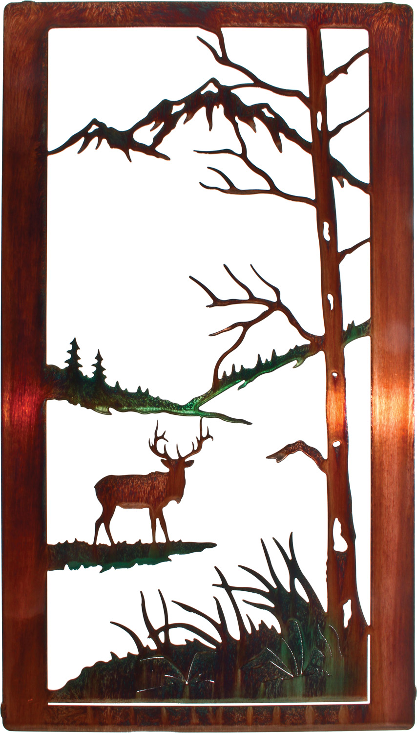 Nature Wildlife Elk Window Frame Metal Wall Art Hanging By Neil Rose In Color Wash Only 20 H X 11 1 4 W