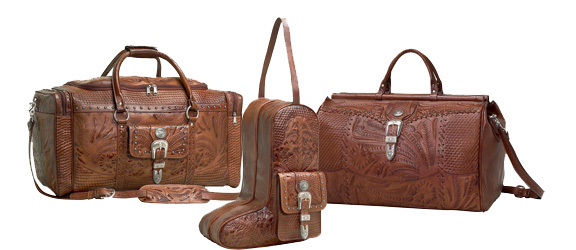 Western Luggage, Hand Tooled Leather Luggage, Western Travel Bags