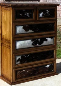 Cowhide chest of drawers