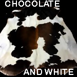 Chocolate and white cowhide