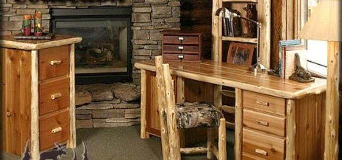 RUSTIC LOG CABIN OFFICE FURNITURE