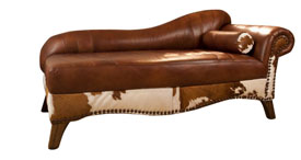 Rustic Cowhide Chaise Lounges