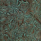 FLORAL TUQUOISE BROWN EMBOSSED LEATHER SAMPLE
