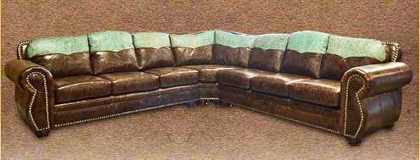 Rustic Cowhide Log Cabin Sectionals