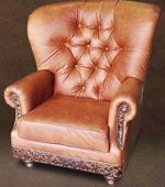 Rustic Genuine Leather Highback Chair