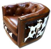 Cowhide Barrell Chair
