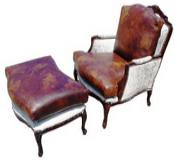 Rustic Chair and Ottoman Set with Cowhide