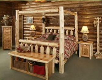 LOG CABIN BEDROOM FURNITURE, RUSTIC BEDS, RUSTIC BEDROOM FURNITURE