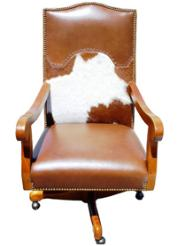 Rustic Cowhide Office Chair