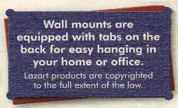 Buffalo Wall hangings are equipped with tabs for easy hanging