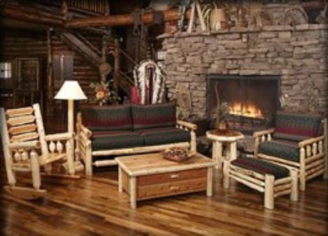 RUSTIC LOG CABIN LIVING ROOM FURNITURE image