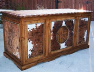 Country Western Cowhide Office Desk